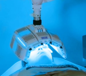woman asking what is blue light therapy